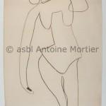 Figure, Antoine Mortier, 1952, fusain sur papier, 203x150