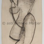 Figure debout, Antoine Mortier, 1952 ,fusain sur papier Steinbach Malmédy, 235 x 150