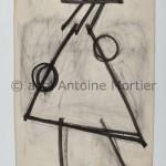 La passante, Antoine Mortier, 1952 , lavisfusain sur papier marouflé sur coton, 238 x 150