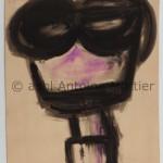 Sans titre, Tête, Antoine Mortier, 1955, lavis au fusain et pastel sur papier beige, 150x113,5