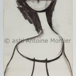 Sans titre (personnage), Antoine Mortier, 1967 fusain en lavis sur papier steinbach Malmédy 149 x99,5
