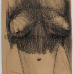Torse féminin, Antoine Mortier, 1955, fusain sur papier beige, 150x113,5