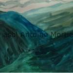 Paysage, circa 1962, aquarelle sur papier, signée Mortier coin inférieur droit 26,5x 35,5 (encadré)
